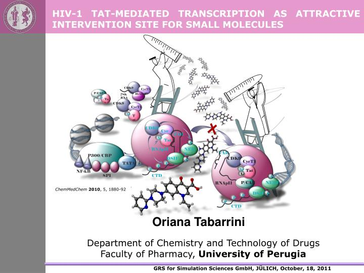 Hiv 1 tat mediated transcription as attractive intervention site for small molecules