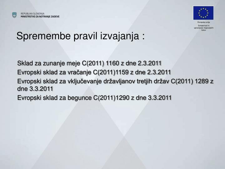 Spremembe pravil izvajanja :