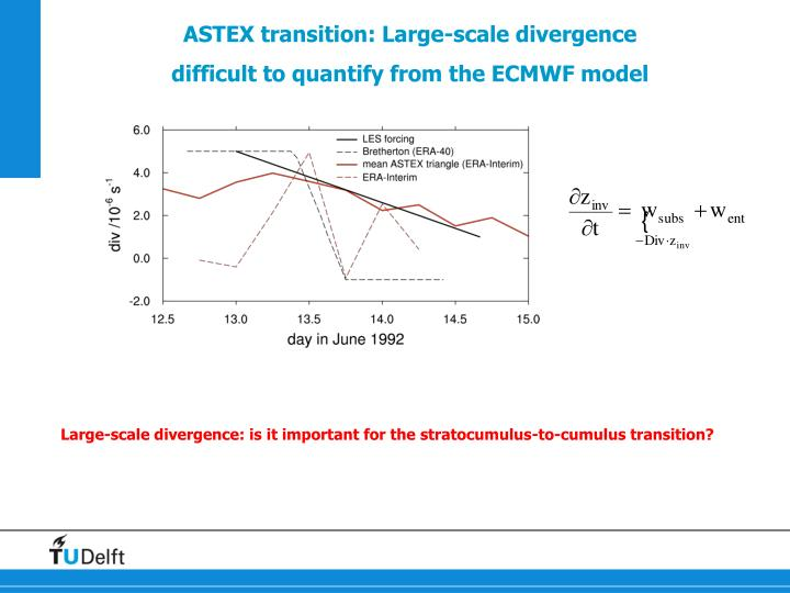 Astex transition large scale divergence difficult to quantify from the ecmwf model
