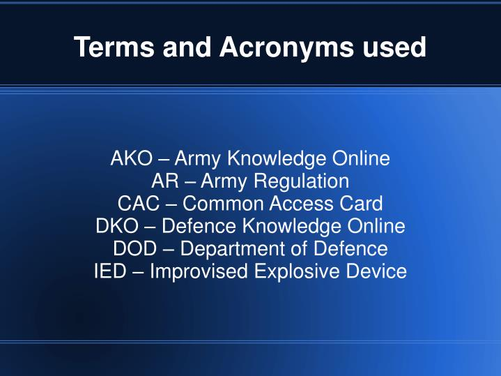 Terms and acronyms used