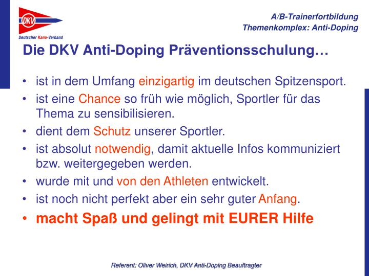 Die DKV Anti-Doping Präventionsschulung…
