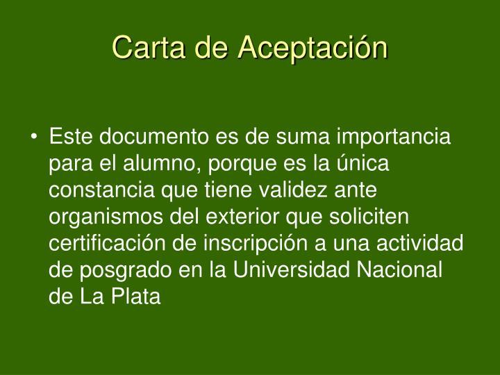 Carta de Aceptación