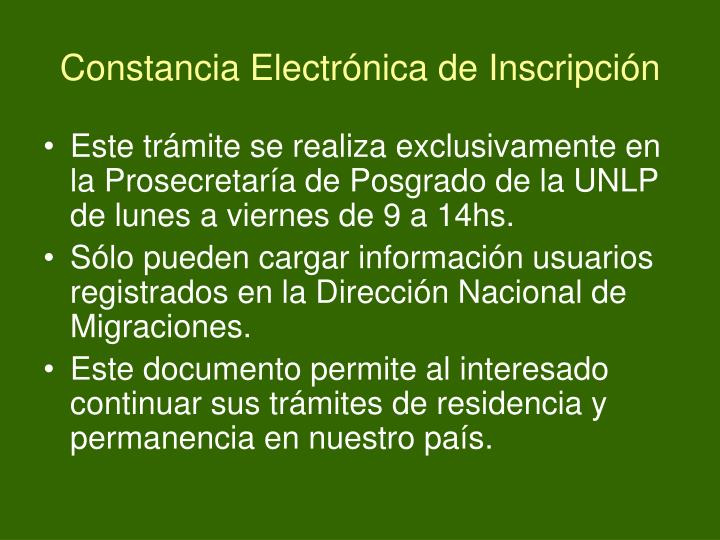 Constancia Electrónica de Inscripción