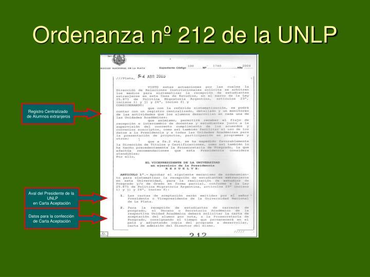 Ordenanza nº 212 de la UNLP