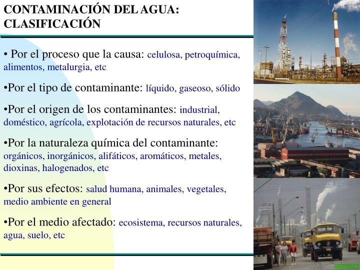 CONTAMINACIÓN DEL AGUA: CLASIFICACIÓN