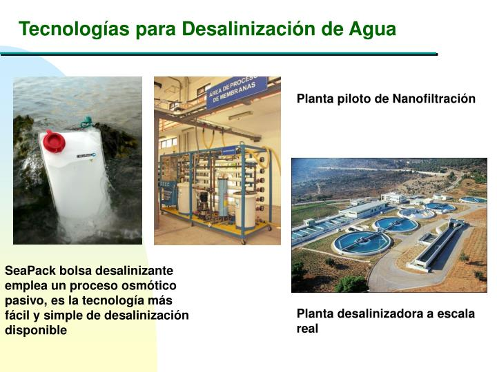 Tecnologías para Desalinización de Agua