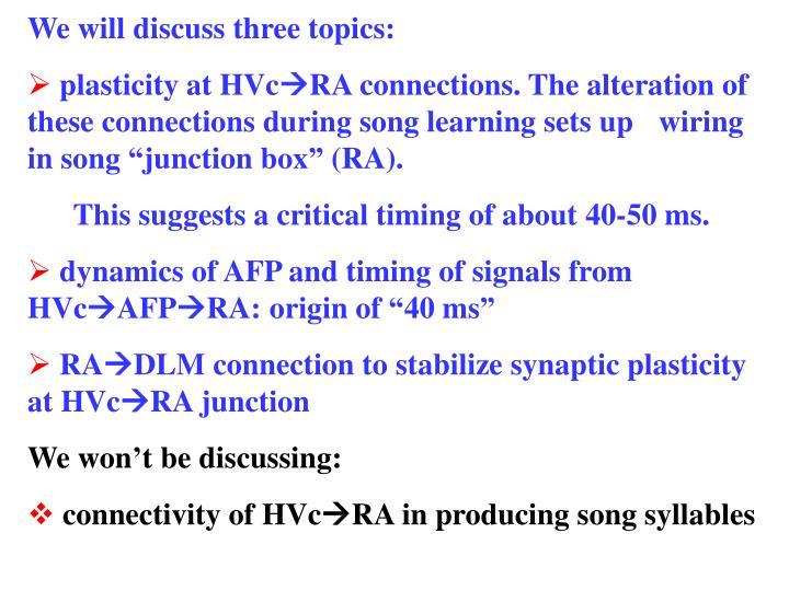 We will discuss three topics: