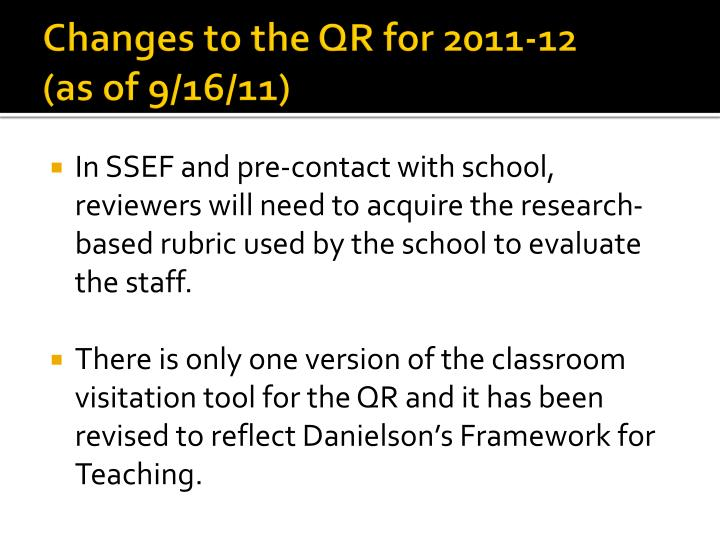 Changes to the QR for 2011-12