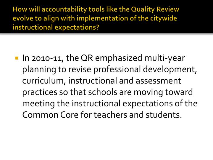 How will accountability tools like the Quality Review evolve to align with implementation of the citywide instructional expectations?