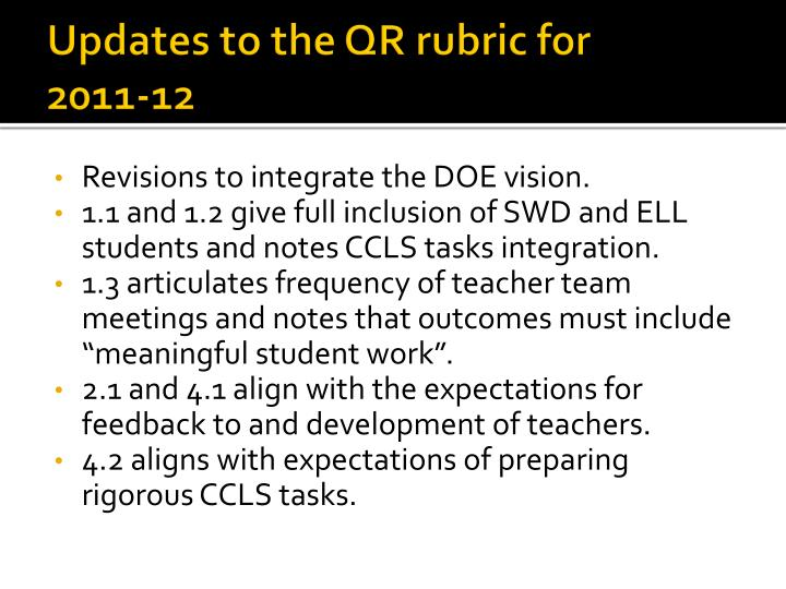 Updates to the QR rubric for
