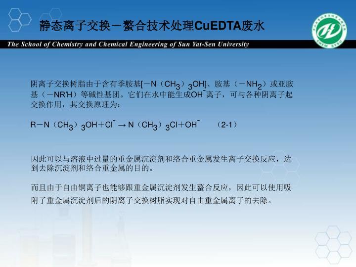 静态离子交换-螯合技术处理