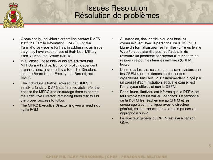 Issues Resolution