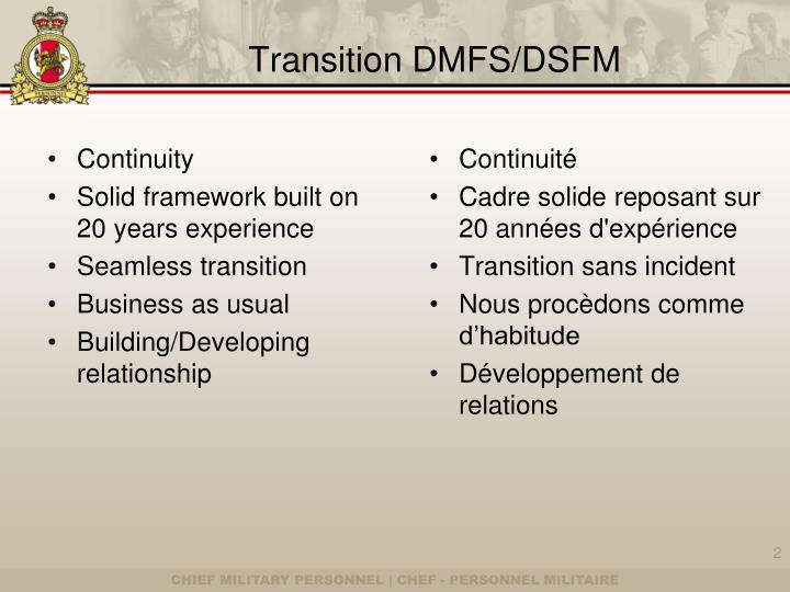 Transition DMFS/DSFM