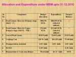 allocation and expenditure under mdm upto 31 12 2010