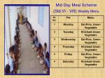 mid day meal scheme std vi viii weekly menu