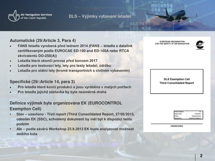 DLS – Výjimky vybavení letadel
