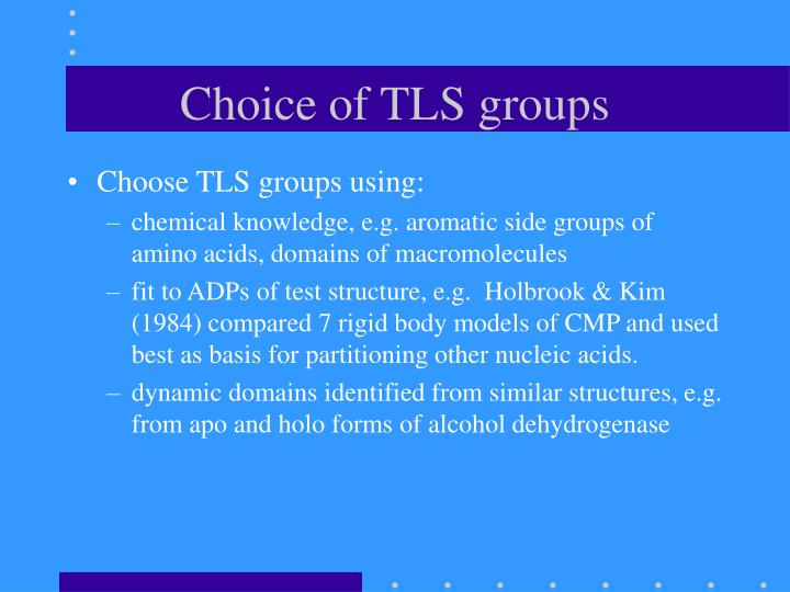 Choice of TLS groups