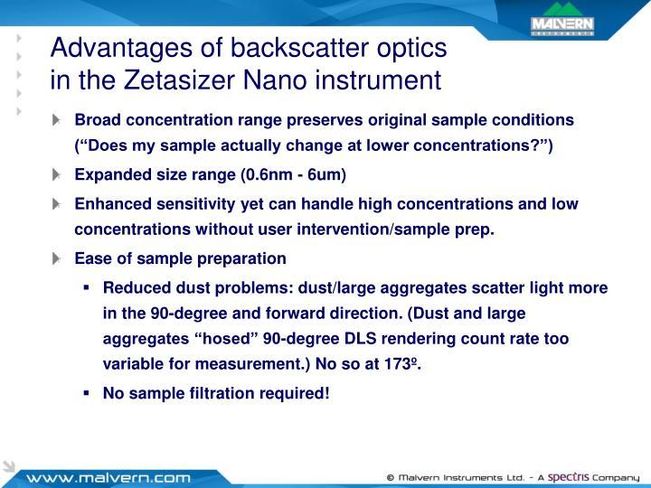 Advantages of backscatter optics in the Zetasizer Nano instrument