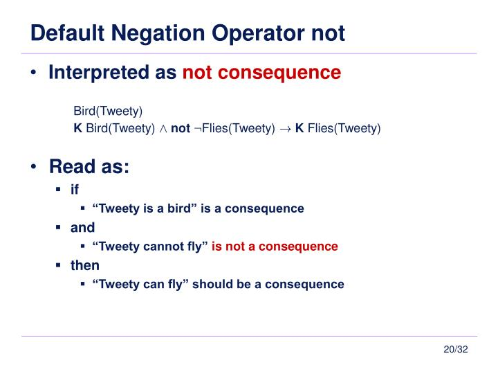 Default Negation Operator not