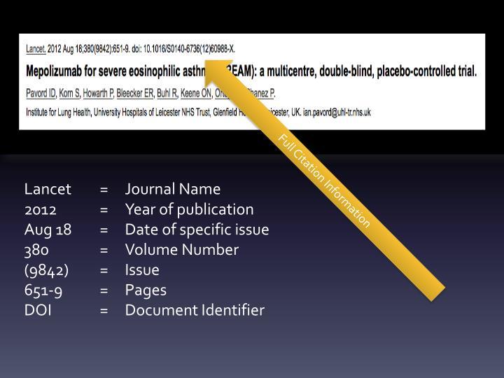 Full Citation Information