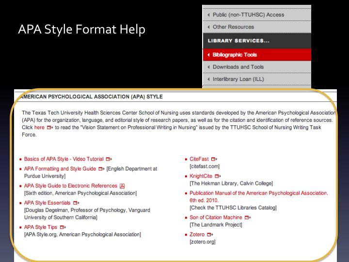 APA Style Format Help
