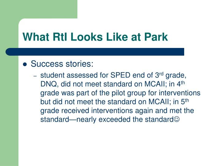 What RtI Looks Like at Park