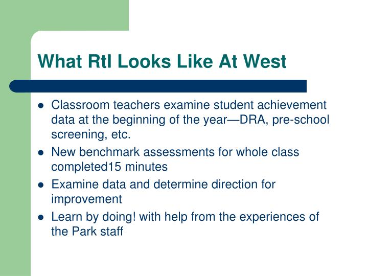 What RtI Looks Like At West