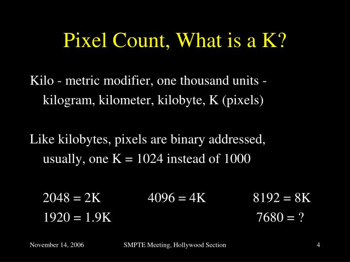 Pixel Count, What is a K?