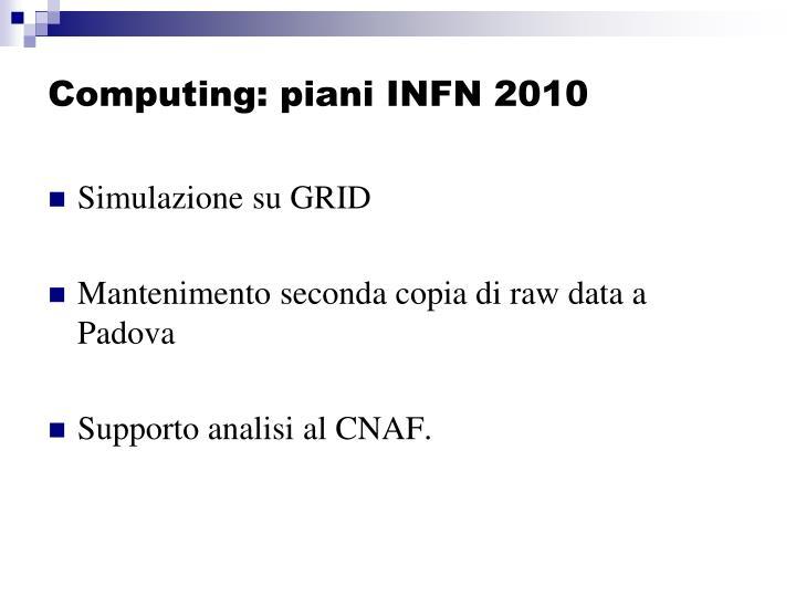 Computing: piani INFN 2010