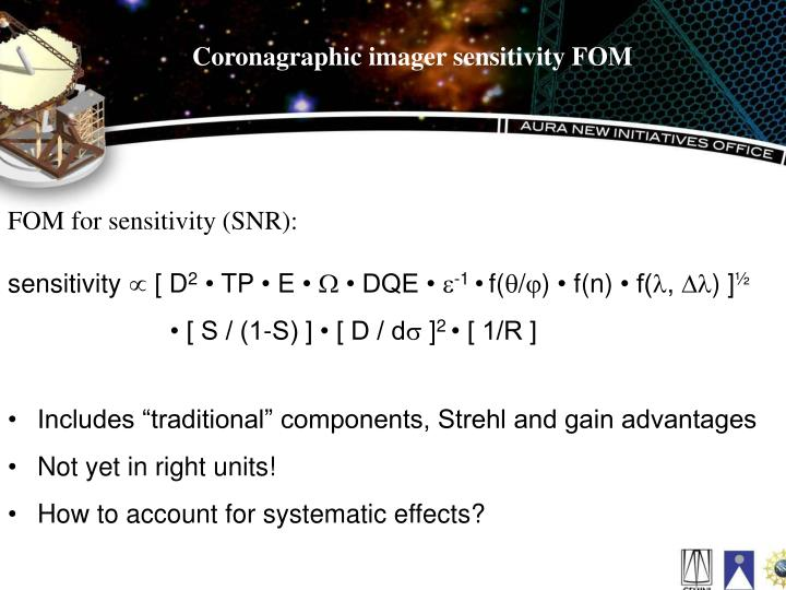 Coronagraphic imager sensitivity FOM