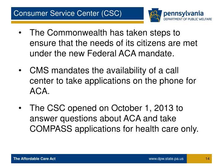 Consumer Service Center (CSC)