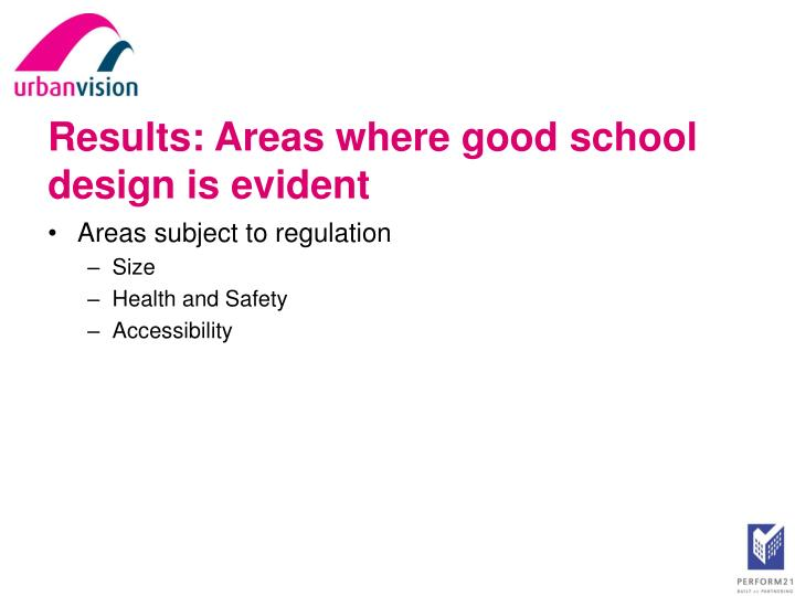 Results: Areas where good school design is evident
