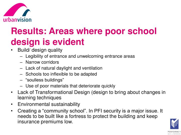 Results: Areas where poor school design is evident