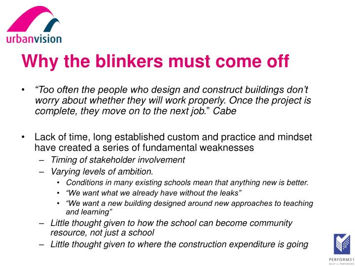 Why the blinkers must come off