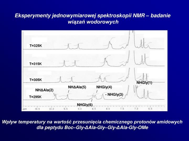 Eksperymenty jednowymiarowej spektroskopii NMR – badanie