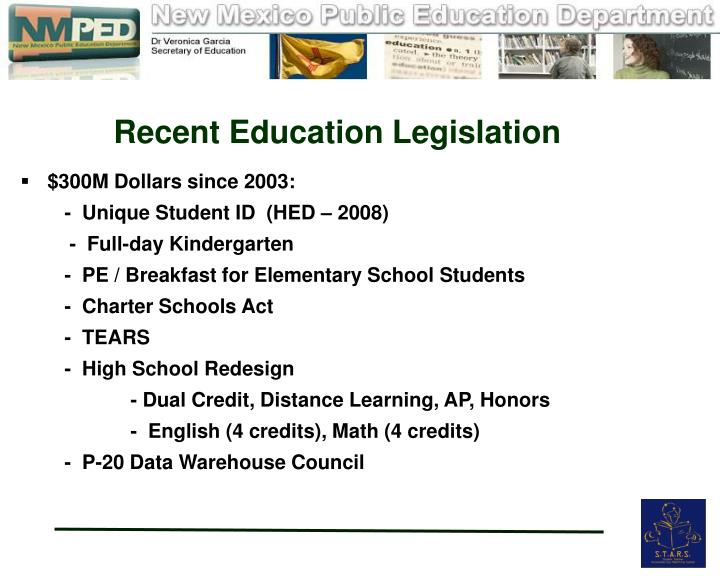 Recent Education Legislation