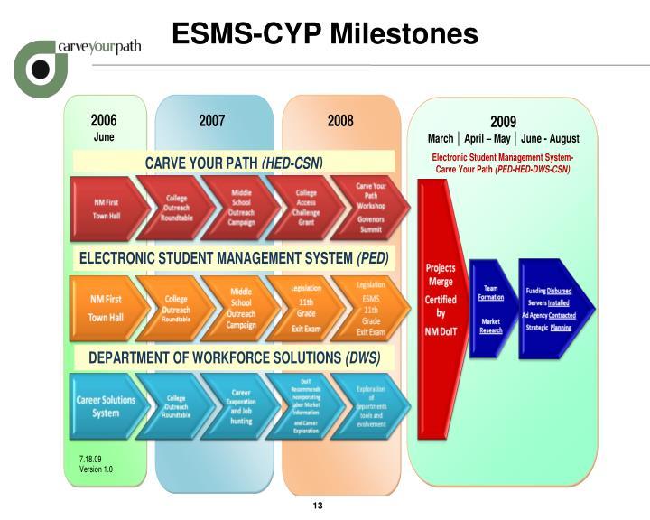 ESMS-CYP Milestones
