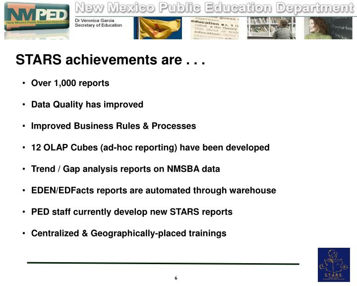 STARS achievements are . . .