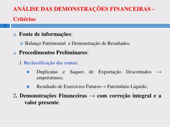 An lise das demonstra es financeiras crit rios