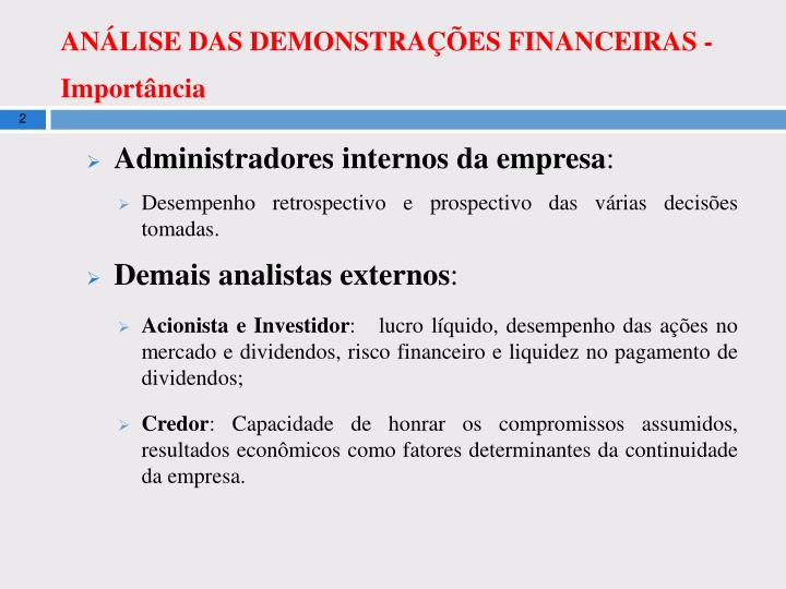 An lise das demonstra es financeiras import ncia