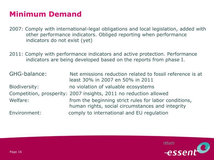Minimum Demand