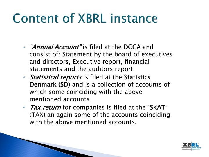 Content of XBRL instance