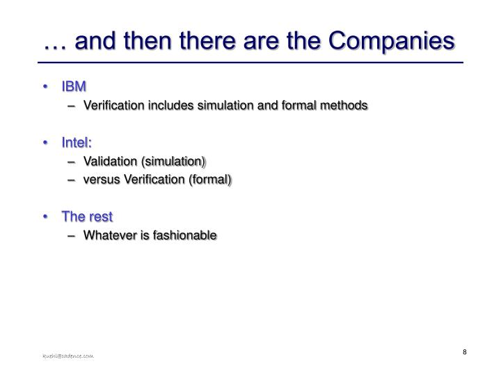 … and then there are the Companies