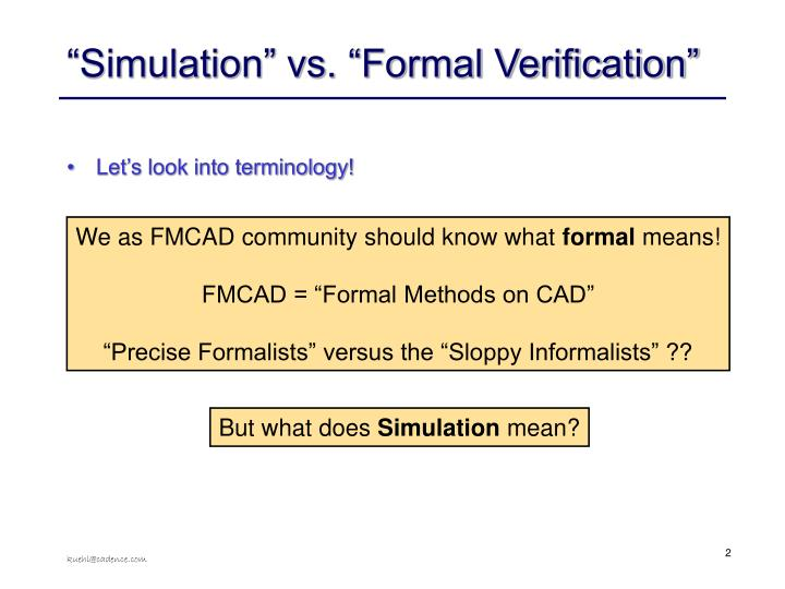 Simulation vs formal verification