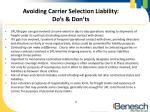 avoiding carrier selection liability do s don ts