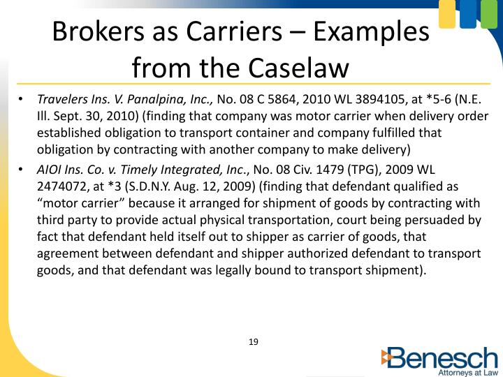 Brokers as Carriers – Examples from the Caselaw