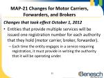 map 21 changes for motor carriers forwarders and brokers