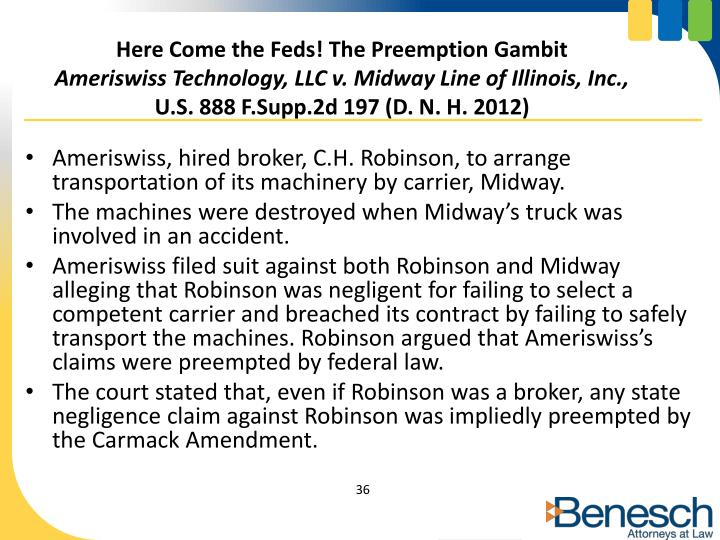 Here Come the Feds! The Preemption Gambit