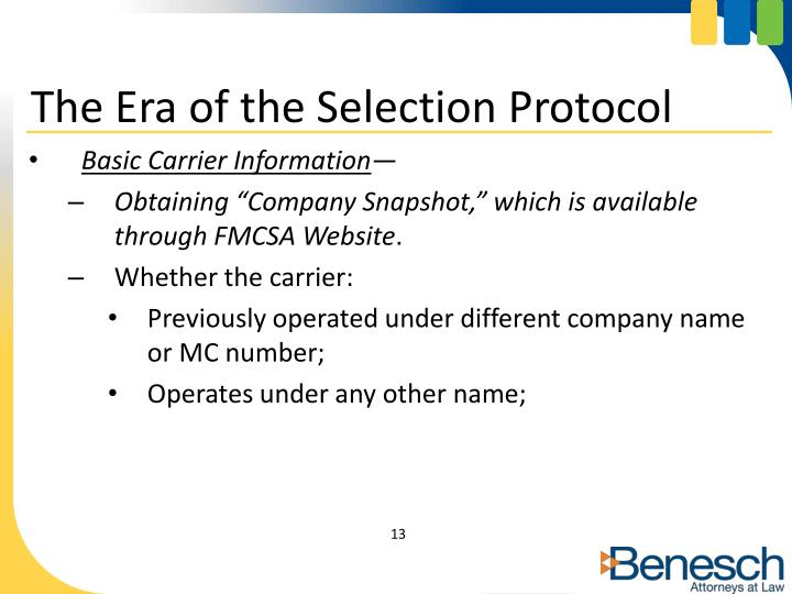 The Era of the Selection Protocol