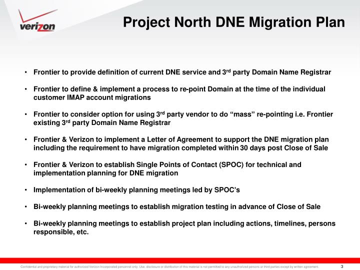 Project North DNE Migration Plan